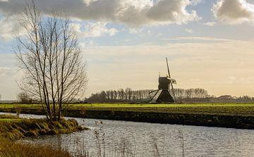 Holländische Polderlandschaft mit Windmühle von Ruud Morijn