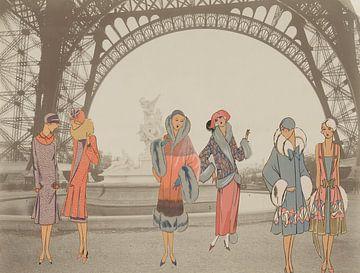 Dames bij de Eiffeltoren in Parijs van Irene Hoekstra