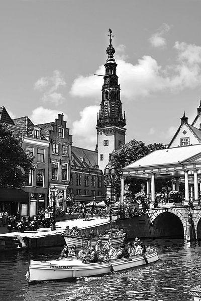 Pentekening Leiden Stadhuis en Kroonbrug Tekening Lijntekening van Hendrik-Jan Kornelis