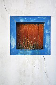 Blauw kader raam van Bram Busink
