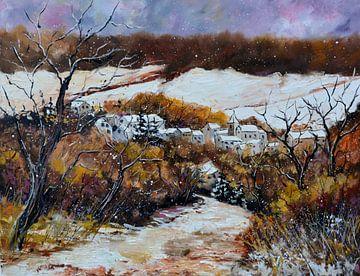 Verschneites Dorf von pol ledent