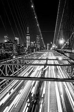 Brooklyn Bridge, New York City (zwart-wit)