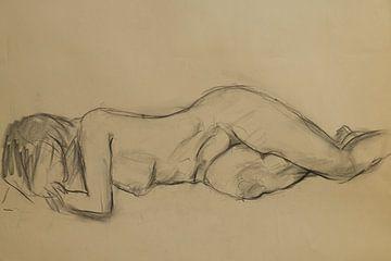 Weiblicher Akt, Aktstudie 1, Kohlezeichnung von Paul Nieuwendijk