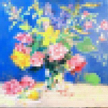 Bloemen met blokken van Nicole Habets