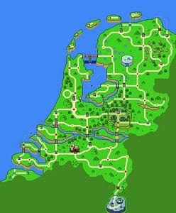 Kaart van Nederland in Mario stijl van Armin Palavra