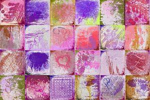 Collage met rood en paars van