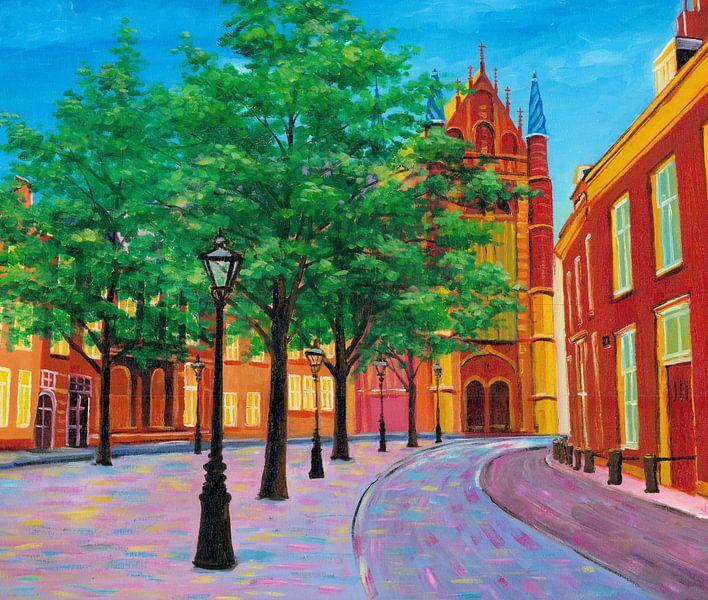 Schilderij Leiden Hooglandse Kerk