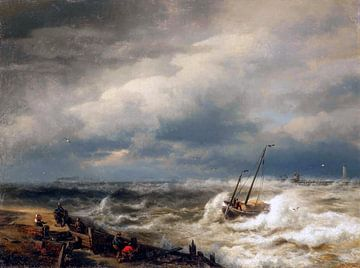 Vloed, Ostende - Hermann Herzog, 1869 von Atelier Liesjes