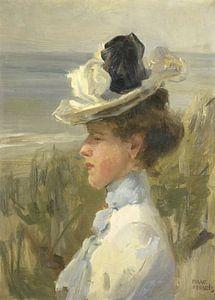 Jonge vrouw, uitkijkend over zee, Isaac Israels