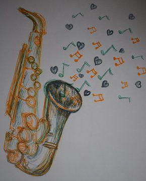 Magisches Saxophon mit Musiknoten und Herzen von Breezy Photography and Design