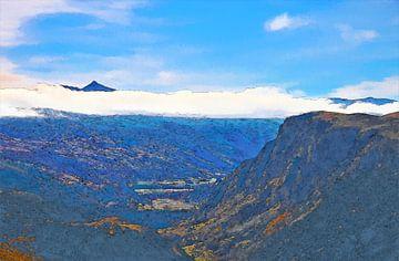 Landschaft - Neuseeland - Tal - Ölgemälde mit Radierung von Dirk van der Ven