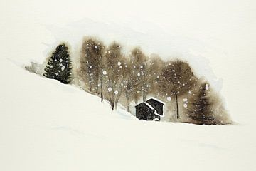 Skipiste mit Holzhütten von Natalie Bruns