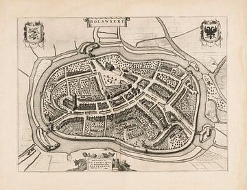 Oude kaart van Bolsward van omstreeks 1652 van Gert Hilbink