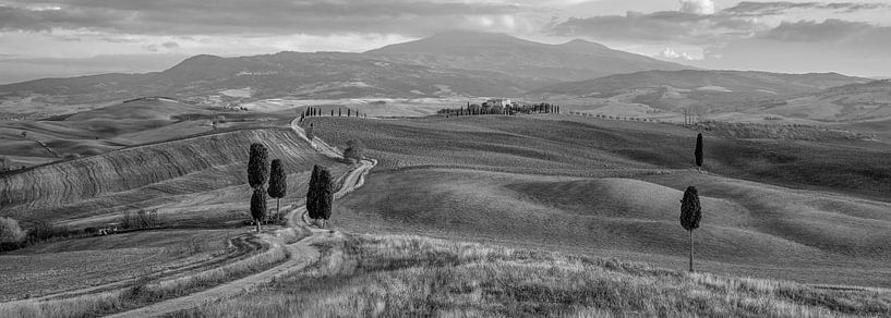 The Gladiator Road, Toscane, Zwart Wit van Teun Ruijters