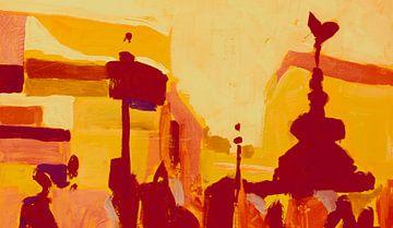 Piccadilly Circus in rood en oranje van Nop Briex