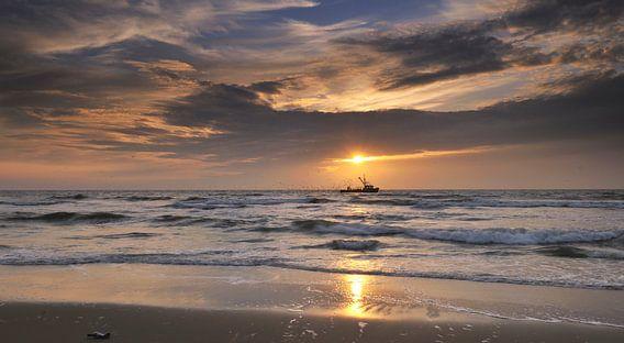 Garnalen kotter voor de kust van Texel