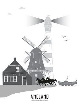 Skyline Illustration Watteninsel Ameland schwarz und weiß grau von Mevrouw Emmer