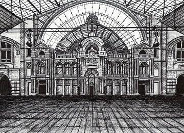 Zeichnung des Bahnhofs in Antwerpen von Lonneke Kolkman