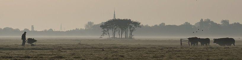 boer en zijn koeien  van Dirk van Egmond