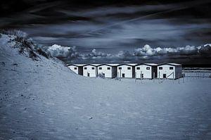 Strandhäuser in schwarz-weiß...
