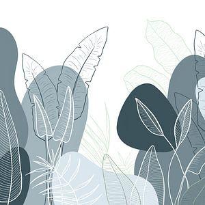 Modern tropisch patroon - illustratie bladeren blauw groen van Studio Hinte