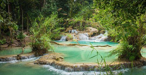 Waterplateaus bij de Kuang Si waterval, Laos