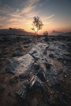 Jebel Shams Gebirge im Oman zum Sonnenuntergang