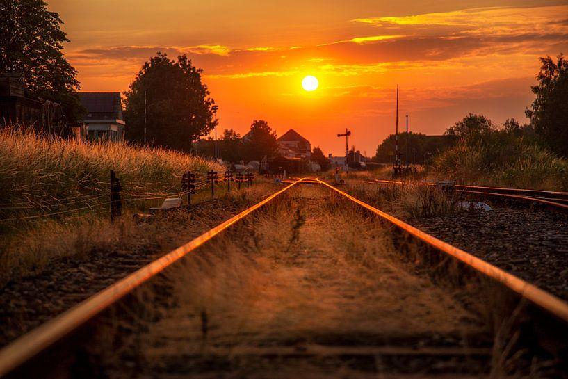 Gouden treinrails in Simpelveld van John Kreukniet