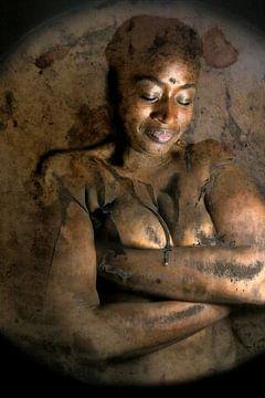portrait artistique d'une jeune fille nègre sur Cor Heijnen