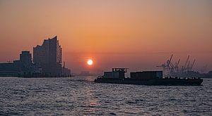 HAMBURG Sonnenaufgang mit Elbphilharmonie 16:9 Panorama von Joachim Fischer