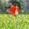 Tulp in veld van Carla van Zomeren thumbnail