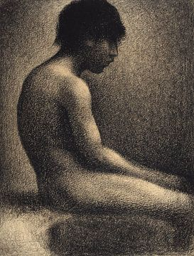 Zittend naakt - Studie voor 'Une Baignade', Georges Seurat van