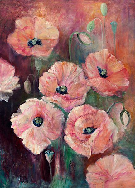 pink poppies ( oilpainting) van Els Fonteine