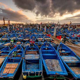 Zonsondergang Haven Essaouira in Marokko van Bert Beckers