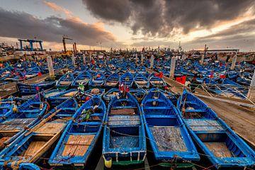 Zonsondergang Haven Essaouira in Marokko