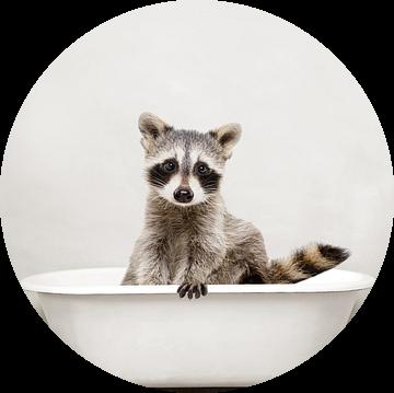 Wasbeer In Badkuip Dieren Badkamer Humor van Diana van Tankeren