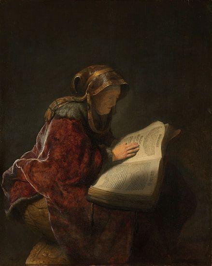 Rembrandt van Rijn. Oude lezende vrouw van 1000 Schilderijen