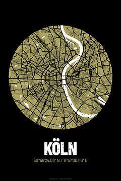 Köln – City Map Design Stadtplan Karte (Grunge) von