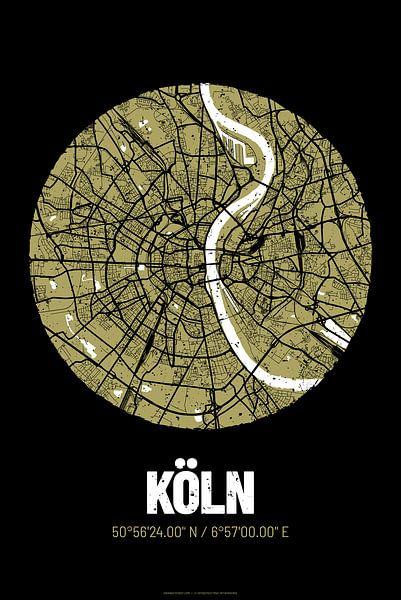 Keulen - Stadsplattegrondontwerp Stadsplattegrond (Grunge) van ViaMapia