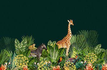 Dschungel mit Giraffe, Zebra und Vögeln. von Studio POPPY