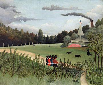 Landschaft und vier junge Mädchen, Henri Rousseau (ca. 1895) von Atelier Liesjes