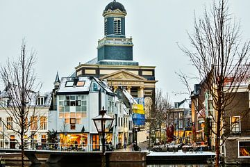 Leiden winter Hartebrugkerk von Frans Nijssen