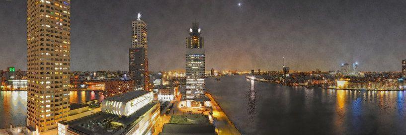 Rotterdam, Avondpanorama Wilhelminapier van Frans Blok