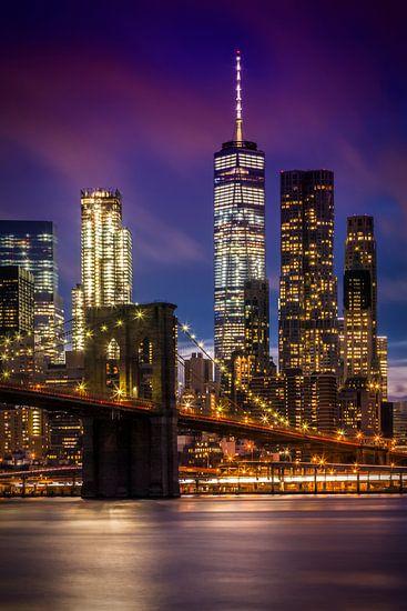 MANHATTAN & BROOKLYN BRIDGE zonsondergang