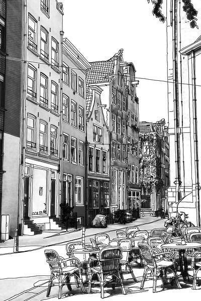 Pentekening Jordaan Noordermarkt Amsterdam Tekening Lijntekening van Hendrik-Jan Kornelis