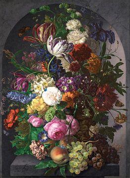 Peinture sur porcelaine (Nature morte de fleurs dans un vase), Joseph Nigg