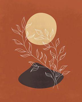 Abstract minimalistisch landschap met een plant in herfstkleuren