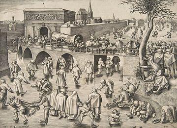 Schlittschuhlaufen vor dem Sint-Jorispoort, Antwerpen - Pieter Brueghel der Alte - ca. 1525-1569 von Atelier Liesjes