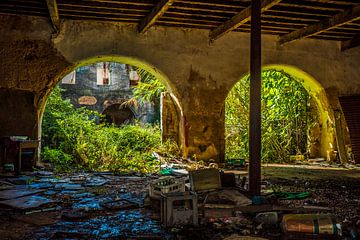 boogvormige poorten in vervallen gebouw van Fred Leeflang