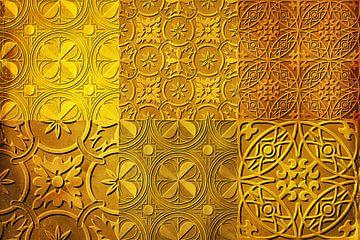 Collage von Fliesenmotive in goldgelb  von Rietje Bulthuis